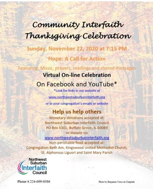 NW Suburban Interfaith Thanksgiving Celebration
